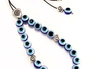 Blue Evil Eye Greek Komboloi Handmade Worry Beads with Spiral Design Metal Master Bead