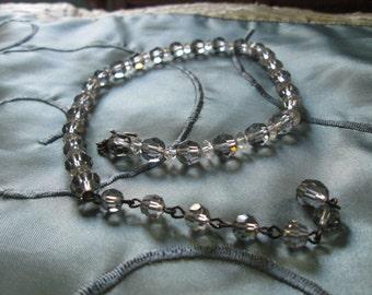Vintage Gray Crystal Necklace c1940-1950's