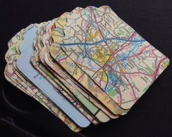 Vintage map and atlas luggage tags (30) die cut