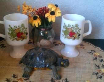 60's garden vegtable milk glass mugs -set of 2