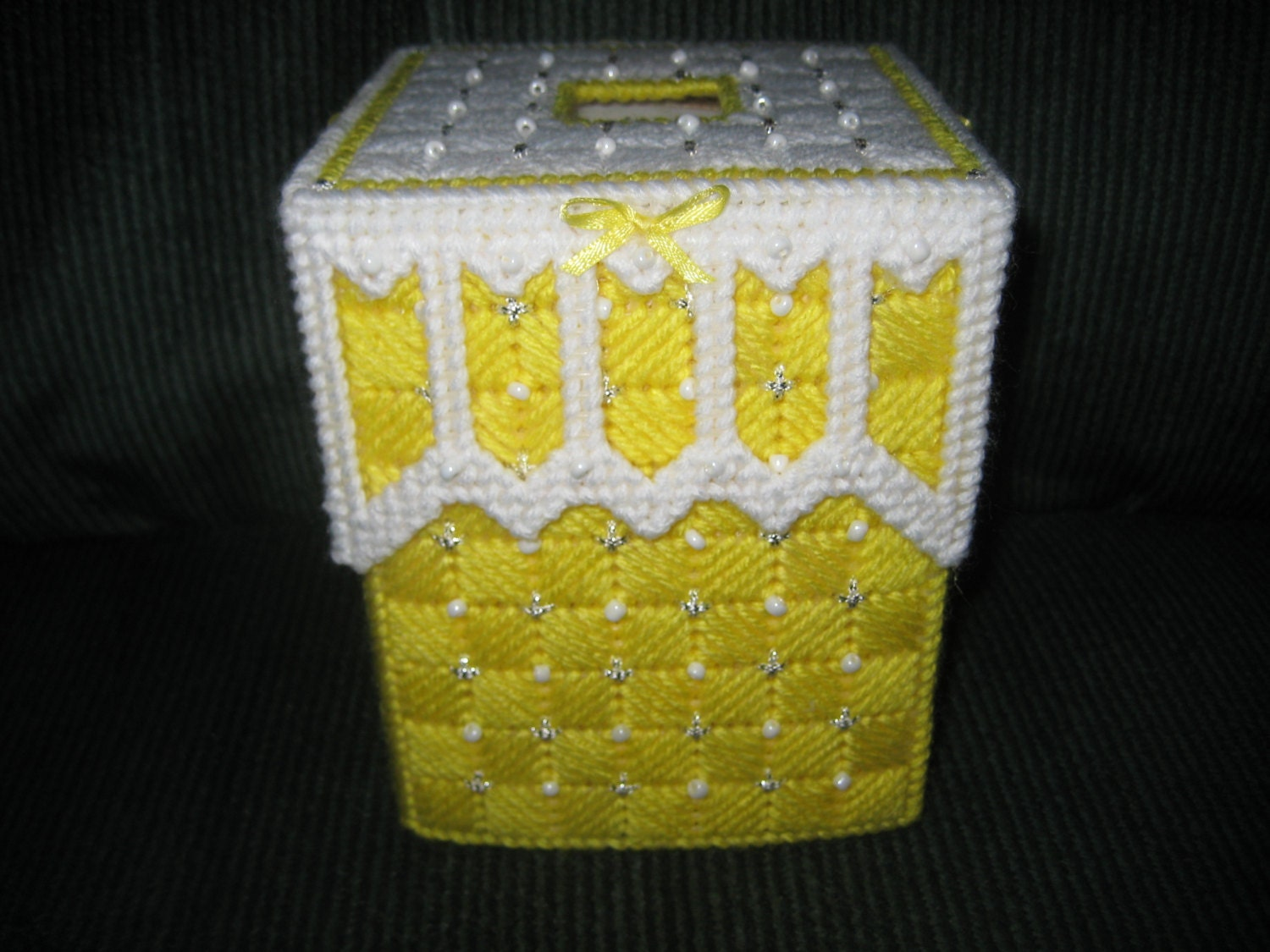 fancy yellow beaded tissue box cover by craftydonnas on etsy