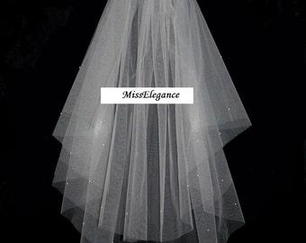 "2 Tier Elbow Length 20"" 25 "" Veil  Bridal Veil,weddingVeilHen night veil, Holy communion Veil with detachable comb"