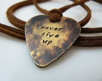 Guitar pick necklace, hand stamped, Plectrum, never give up, silver, gold, antique gold,  Father's Day Gift