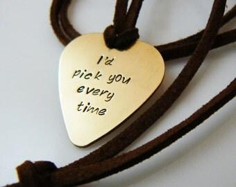 guitar pick, Valentine's Day gift, hand stamped , Guitar Pick Necklace, I'd pick you, Plectrum,  Boyfriend, Husband, Dad