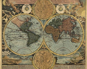 Old Map Of The World, J.B.Homann 1716