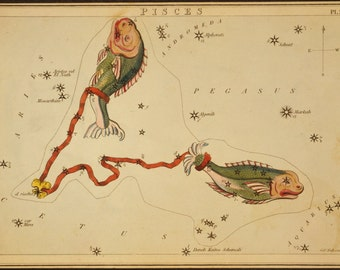 Constellation of Pisces Vintage Print