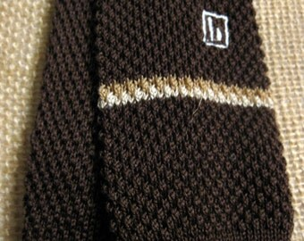 Knit Tie -Bottinelli Brown Stripe