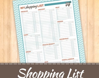 Grocery Shopping List for Home Management Binder, Instant Download