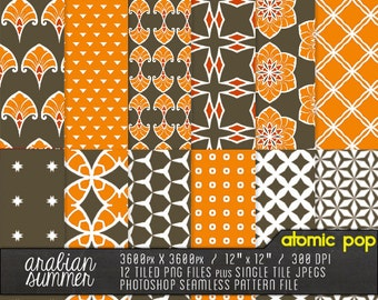 """Instant Download // """"Arabian Nights"""" Digital Paper Pack // Photoshop Seamless Patterns and PNGs // Digital Decoupage Collage Sheets"""