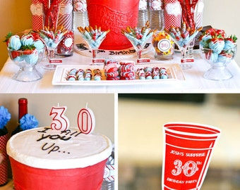 Red Solo Cup Surprise 30th 40th Milestone Country Bar Birthday - Printable Customized Package