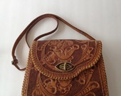 Vintage Mexican Tooled Leather Purse Handbag