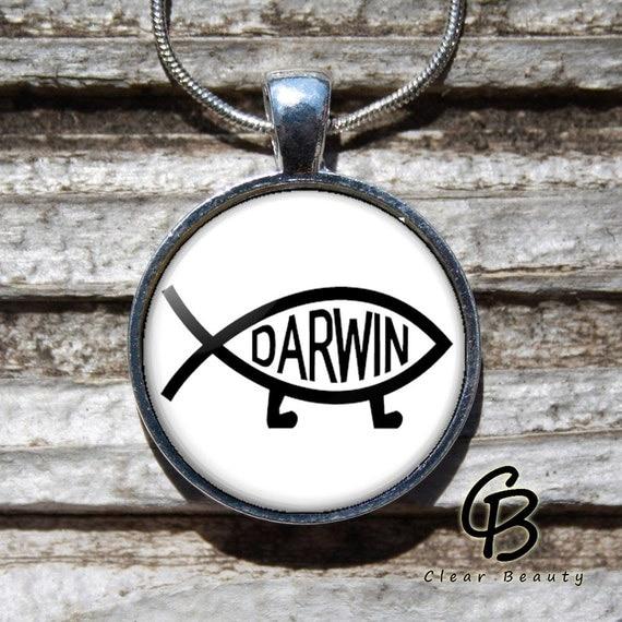 Darwin Fish - Glass Dome Print Pendant Jewelry P928