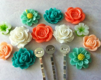 Ship from USA ,,24 pcs Mixed Cabochon Flowers / Bobby Pin Kit...Hair Pin flower , hair accessories,Bobby Pin Blanks, Silver Bobby Pin..