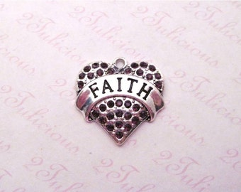 Faith Heart Purple Crystal Pendant Antique Silver Affirmation Word Charm