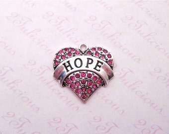 HOPE, Heart, PINK, Crystal, Pendant, Word, Message, CHARM, antique silver, jewelry