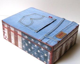 Vintage Levi's All American Flag Keepsake Box