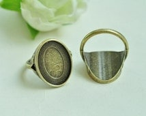 8pcs Antique Bronze Filigree Rings Base Settings with Oval 18x13mm Pad K396