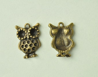12pcs Antique Bronze Owl Charms Owl on Branch Charms 20x14mm MM886