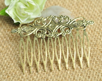 5pcs Antique Bronze Hair Comb 10 Teeth with Flowers 65x46mm K289