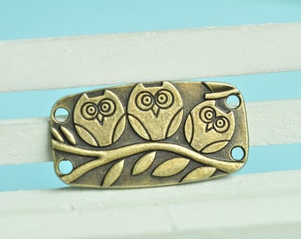 10pcs Antique Bronze Three Owls On the Branch Rectangular Charms Connector 38x20mm MM356