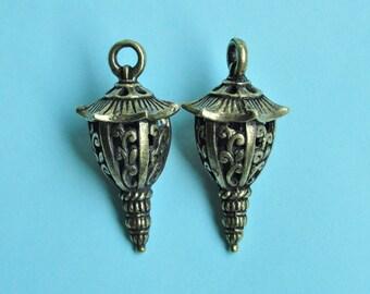 5pcs Antique Bronze Glim 3D Lantern Charms 16x32mm K215