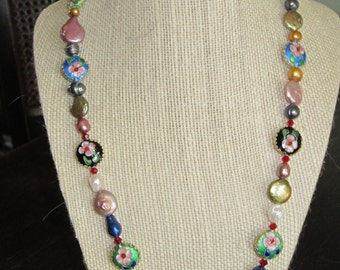 Cloisonne necklace with Swarovski crystals and fresh water pearls