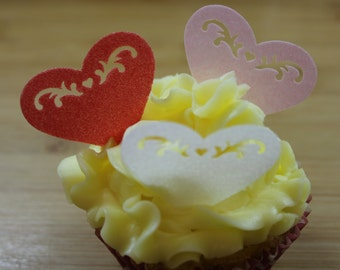 12 Large Heart Cake Toppers, Various Colours Available, Edible