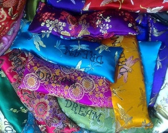 DREAM Lavender and rice-filled chinese brocade eyepillows.