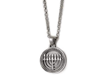 Sterling Silver Round Menorah Necklace