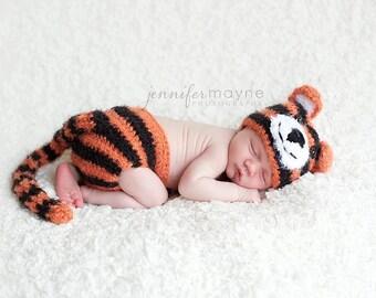 Newborn Baby Fuzzy Tiger Hat & Diaper Cover Set Crochet Photo Prop