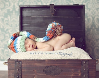 Newborn Baby Boy Long Elf Pom Hat Crochet Photo Prop