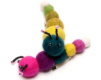 Handmade Caterpillar Felt Brooch