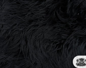 "Faux Fur Long Pile Mongolian Black Fabric / 60"" Wide / Sold by the yard"