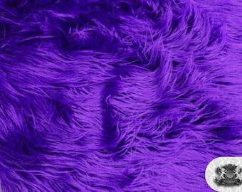 "Faux Fur Long Pile Mongolian Purple Fabric / 60"" Wide / Sold by the yard"