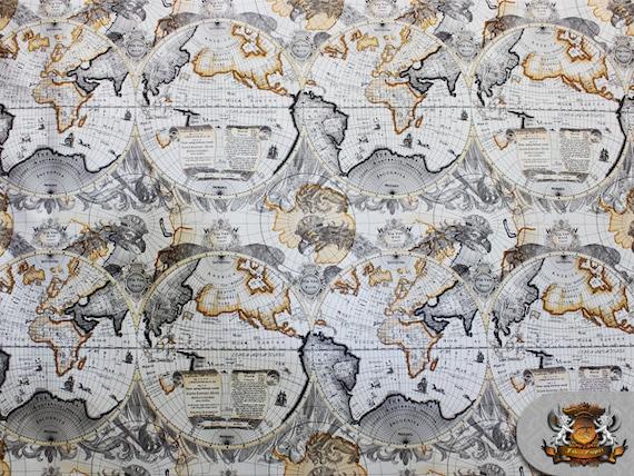 Vinyl Atlas World Map Flannel Back