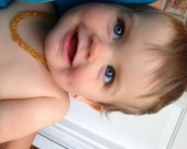 Maximum Effective Raw Unpolished Baltic Amber Baby Teething Necklace. Honey colour Beads.