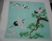 Vintage Handpainted Handkerchief, Stork Pattern 2 Pieces Unused Handkerchiefs, Vintage Accessories Collectibles, For Her, ThriftClub