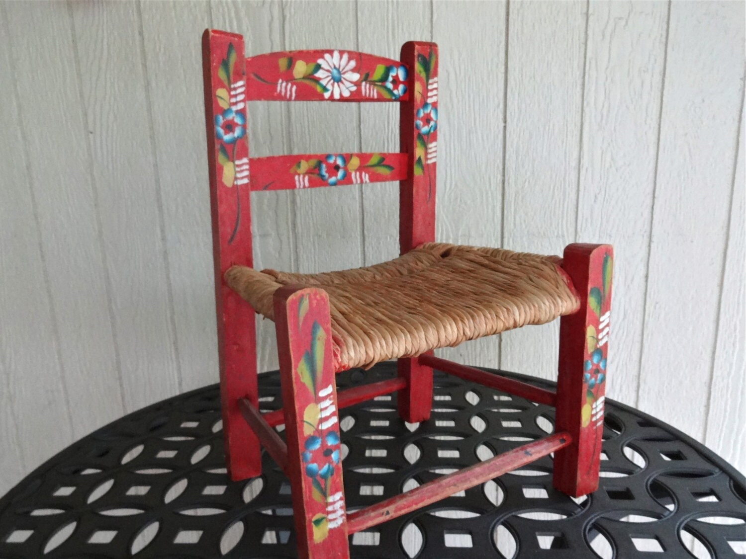 Vintage Wooden Folk Art Mexican Child Chair Rush Straw Seat