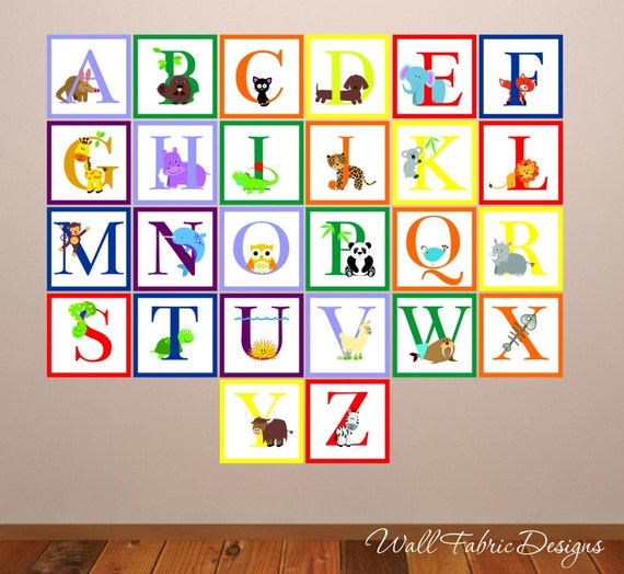 Items similar to animal alphabet wall decal childrens for Alphabet wall mural