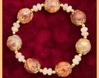 Copper,porcelain,gold,bracelet,capped rounds,lemon,crystal,faceted,vermeil,gifts for her,women's bracelet,summer bracelet