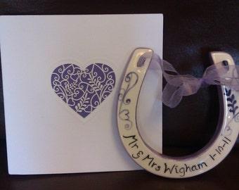 Personalised Wedding Horseshoe Good Luck Keepsake Handpainted Ceramic Gift Anniversary