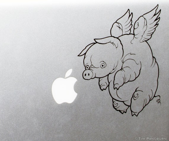When Pigs Fly Flying Fat Pig with Wings MacBook Laptop Apple Vinyl ...