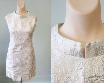 Vintage 60s Silver Party Dress Sz XS S