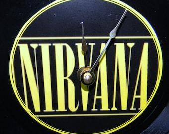 NIRVANA Inspired Vinyl Record Wall Clock Yellow Logo