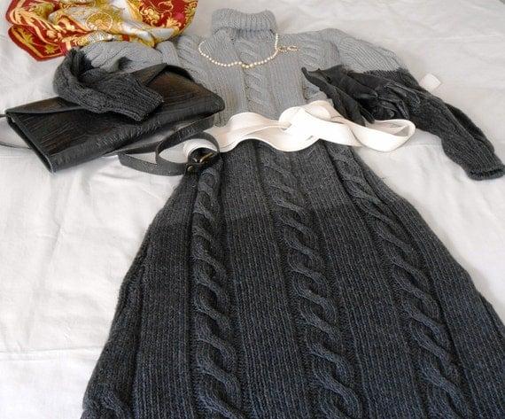 Amato Abiti a maglia su misura grigio chiaro e antracite vestito AW95