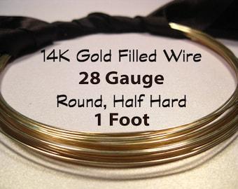 15% Off SALE!! 14K Gold Filled Wire, 28 Gauge, 1 Foot WHOLESALE, Round, Half Hard