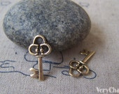 50 pcs of Antique Gold Skeleton Key Charms 10x19mm A4295