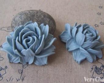 6 pcs of Resin Acid Blue Lotus Flower Cameo 34x42mm A4643