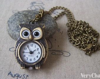 1 PC Antique Bronze Owl Design Pocket Watch 24x37mm A4608