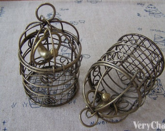 1 pc of Antique Bronze Huge Bird Cage Pendant with Bird Inside 42x77mm A3377
